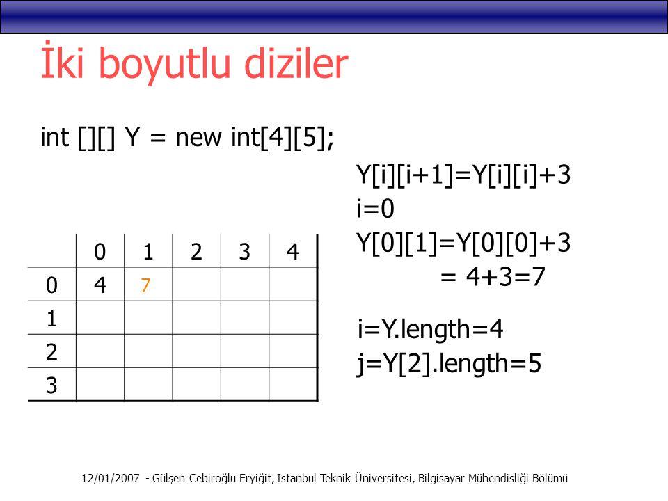 İki boyutlu diziler int [][] Y = new int[4][5]; Y[i][i+1]=Y[i][i]+3